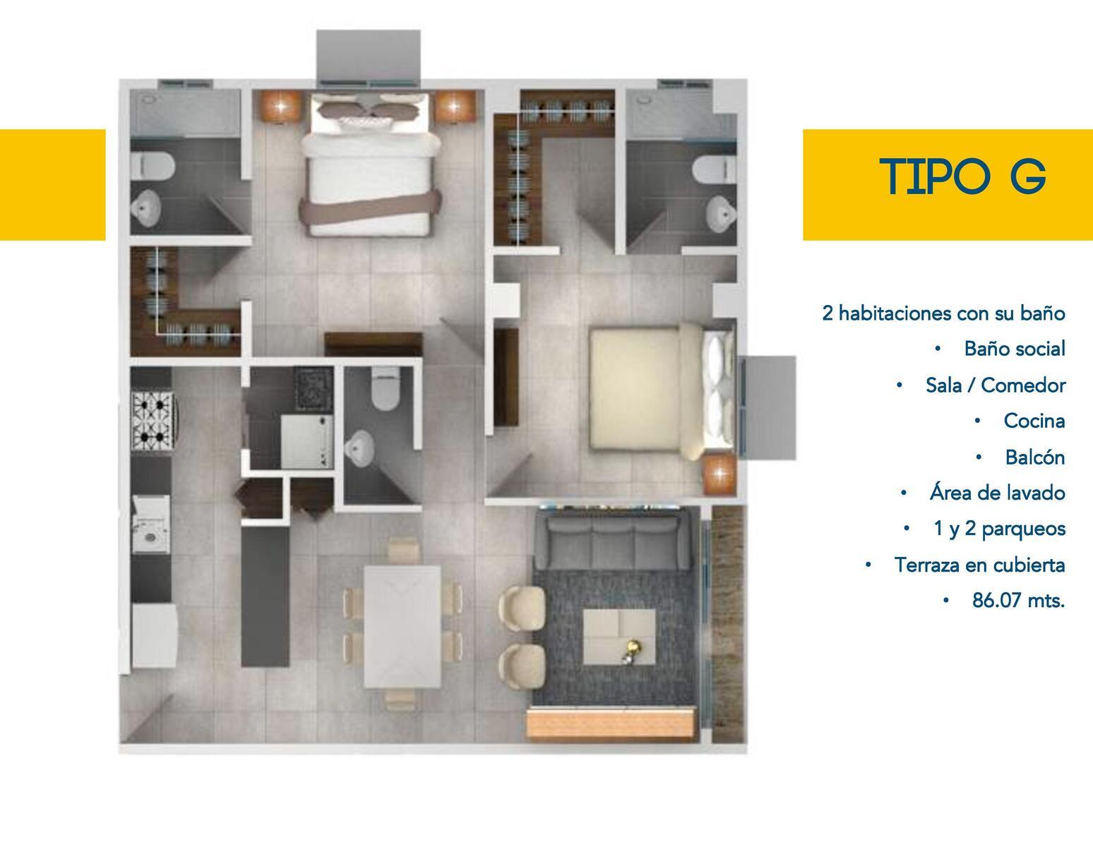 Apartamento De 2 Habitaciones En Venta, Urb. Bella Vista, DN