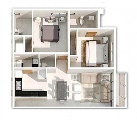 Vendo Apartamento de 2 Dormitorios en Los Rios